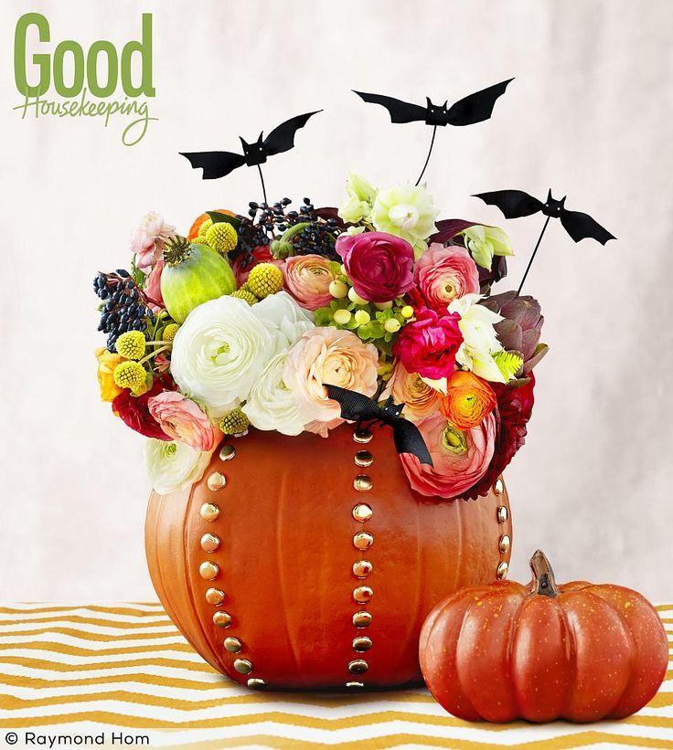 Good Housekeeping Halloween Pumpkin Flower Arrangement, Fall Centerpiece, Fall Flower arrangement
