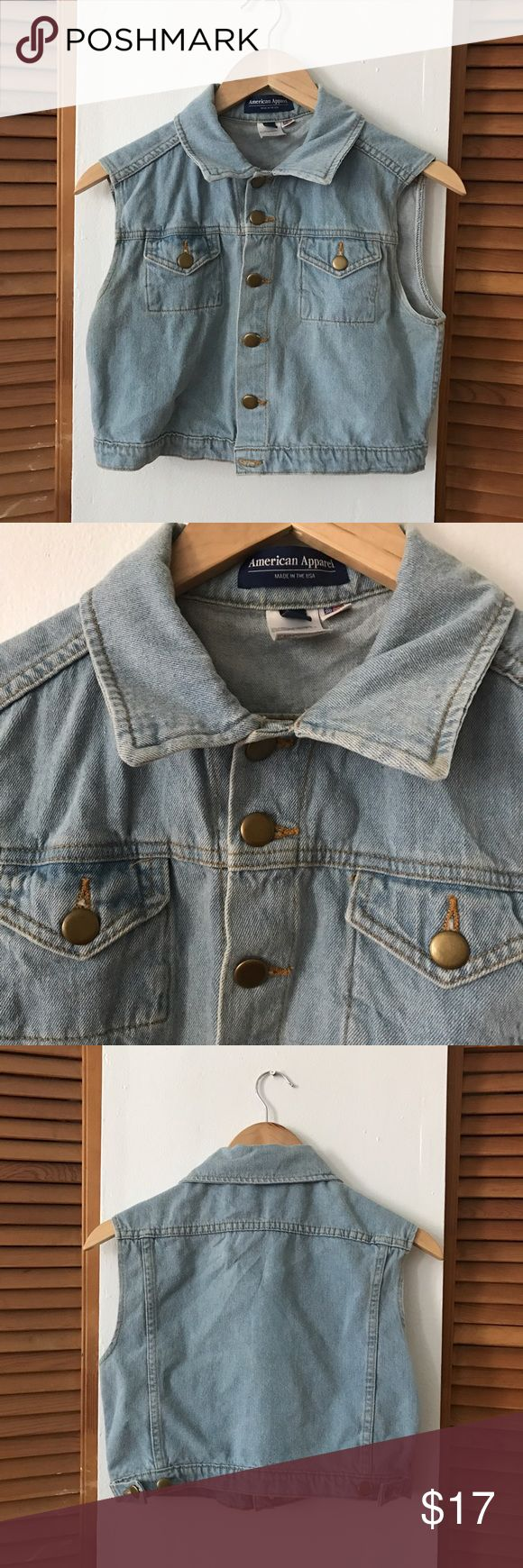 American Apparel cropped denim vest Super cute cropped denim vest. Very lightweight and versatile! The crop makes it look good with everything American Apparel Jackets & Coats Vests