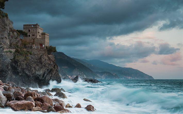 Scarica sfondi mare, onde, le tempeste, il Castello, le Cinque Terre, il Golfo di Genova, la Liguria, la Torre Aurora, Alba, Torre, Italia, Monterosso al Mare