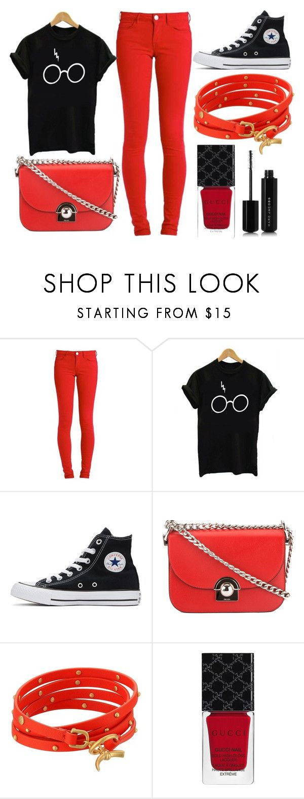 """""""Reeeed"""" by thisisalle on Polyvore featuring GUESS, Converse, Prada, Tory Burch, Gucci and Marc Jacobs"""