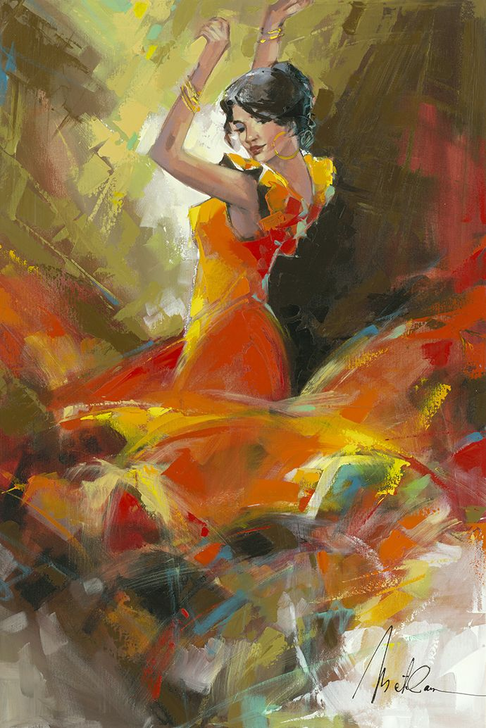 """Playful Dancer"" Oil Painting on Canvas by Anatoly Metlan - Park West Gallery"
