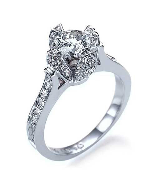 Rose Shaped Engagement Ring Mounting in White Gold