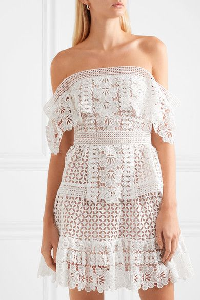 297066e57 Self-Portrait | Off-the-shoulder guipure lace mini dress | NET-A-PORTER.COM