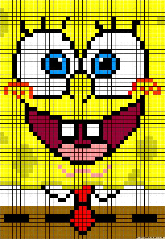 SpongeBob perler bead pattern - turn it into granny square blanket!