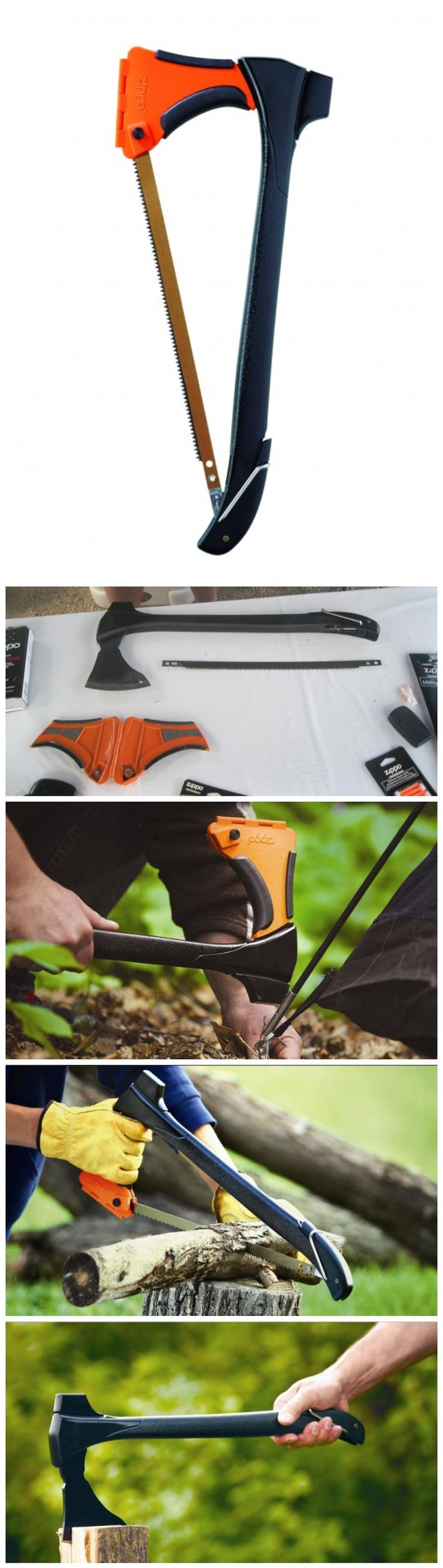 Zippo's 4-in-1 Woodsman combines a hatchet, saw, mallet, & tent stake puller; retails for $80. Reviewed by Popular Mechanics. I want it