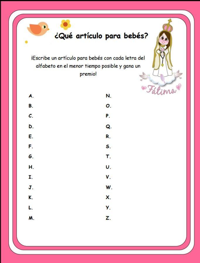 .. JUEGO PARA BABY SHOWER