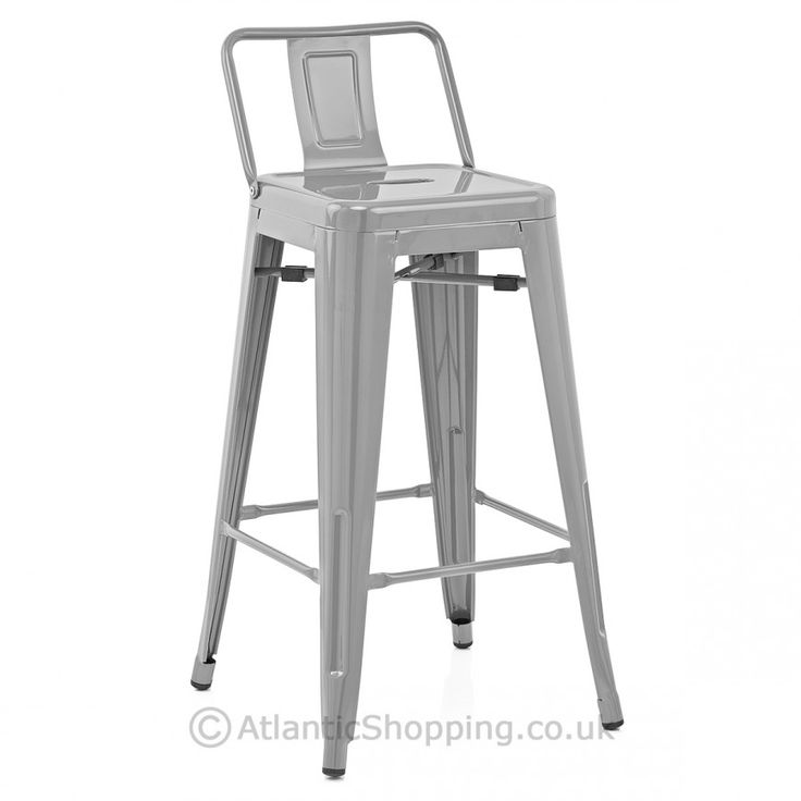 Replica Tolix Stool With Back Grey Atlantic Shopping