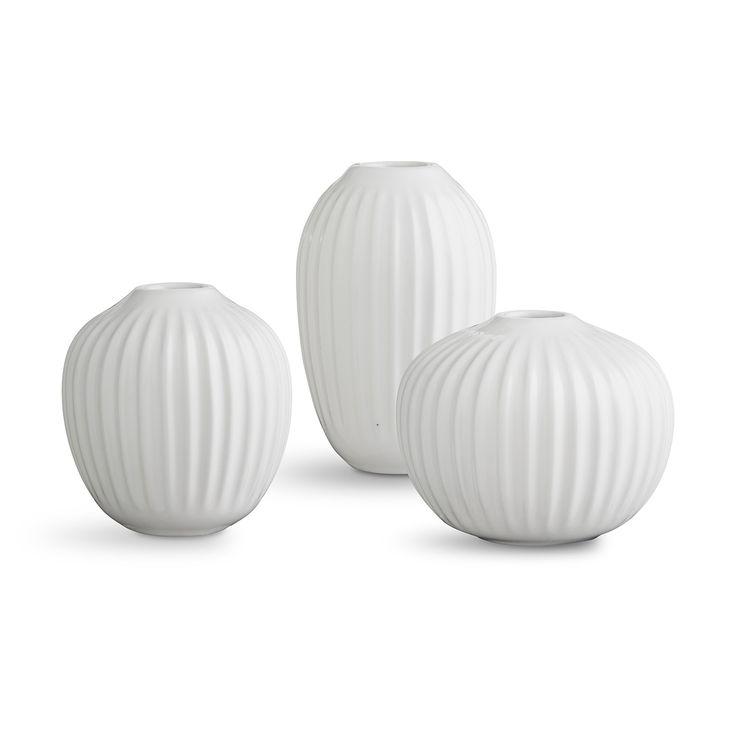 Hammershøi+Vase+Miniatyr+3-pakk,+Hvit,+Kähler