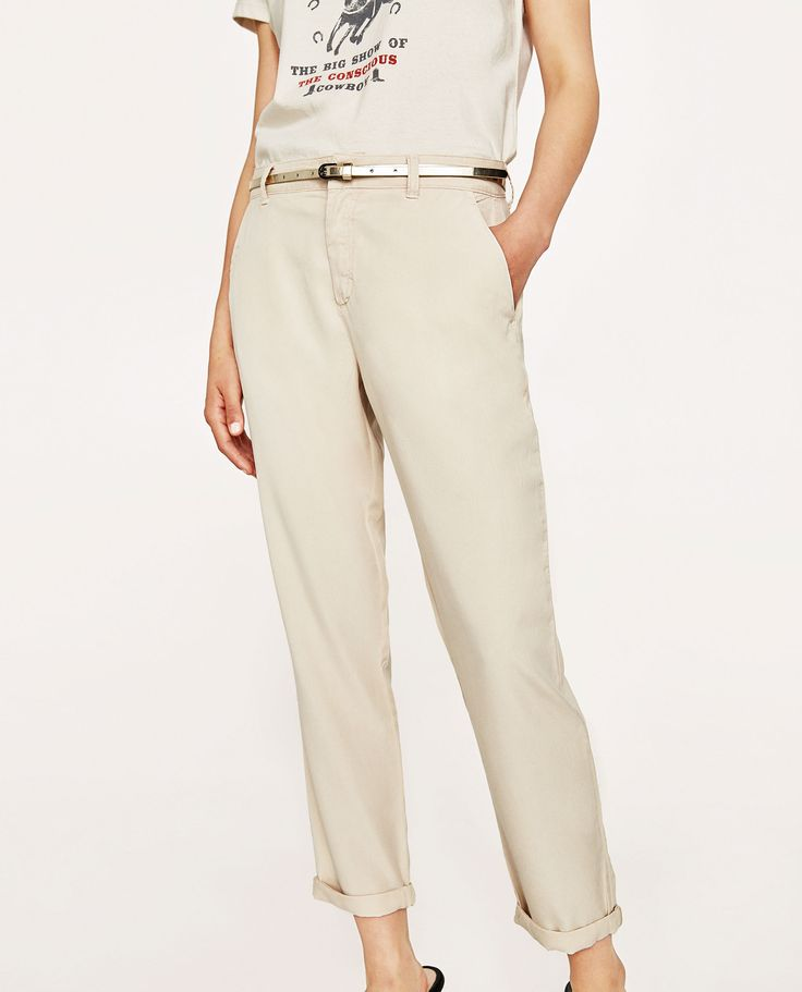 Image 2 of CHINO TROUSERS WITH METALLIC BELT from Zara