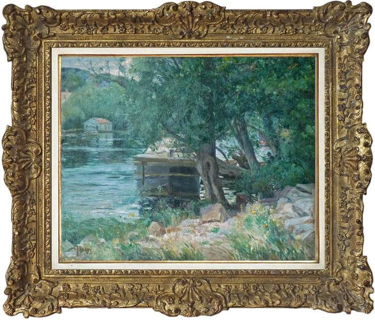 Antoine Dietrich Albers – River landscape with a houseboat anchored, signed oil by German-French Albers