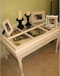 Shadow box table made from old window.