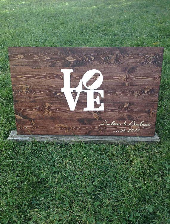 Wedding Guest book - Rustic Wood guest book - Wooden Guestbook - Philadelphia Wedding - Weddings -LOVE Sign - Rustic wood - Custom Maps