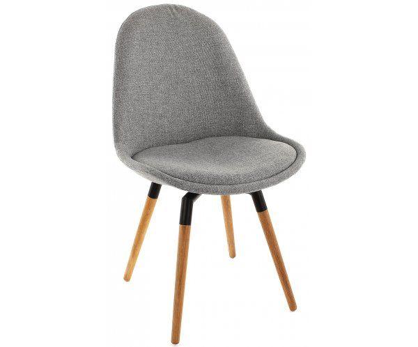 Krzesło Donna Szare Tkanina Nogi Fido Drewniane, czarny lakier - 737zl