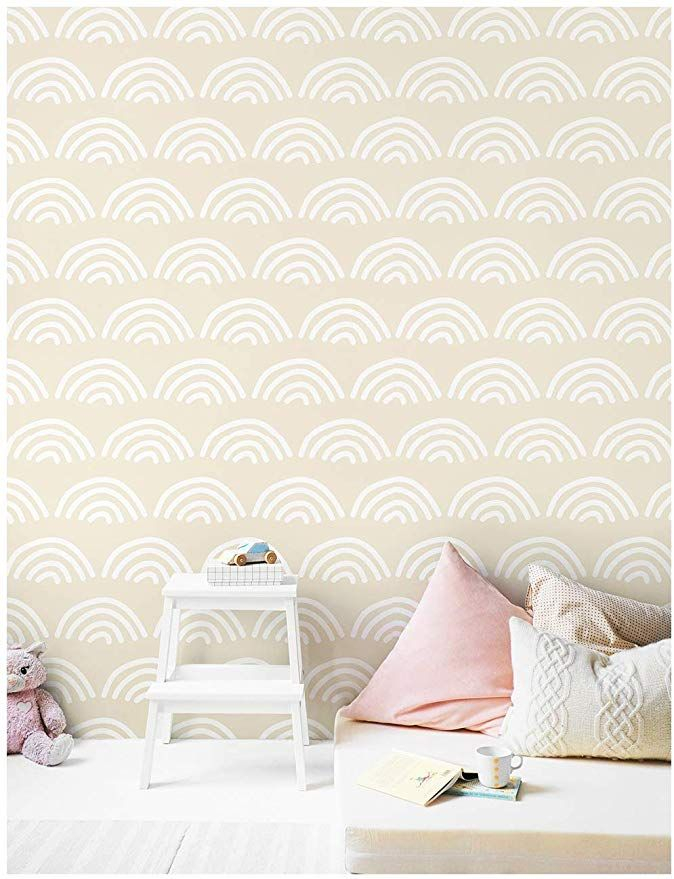 Haokhome 96023 1 Scallop Peel And Stick Wallpaper Beige White Vinyl Self Adhesive Contact Paper Nursery Peel And Stick Wallpaper Wall Decor Stickers Home Decor
