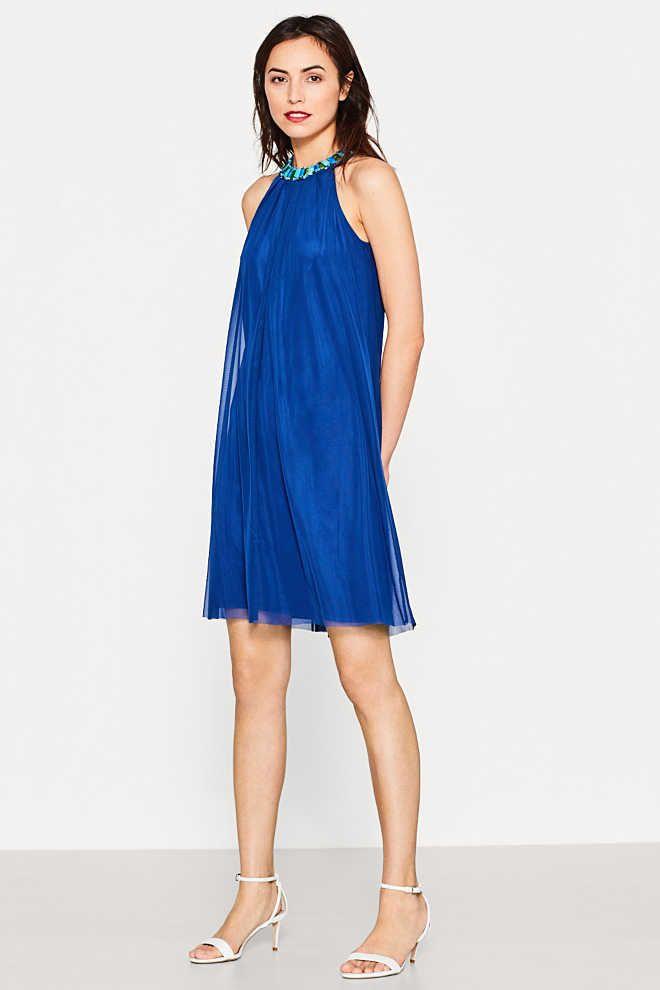 Esprit / Fijne mesh jurk met sierstenen