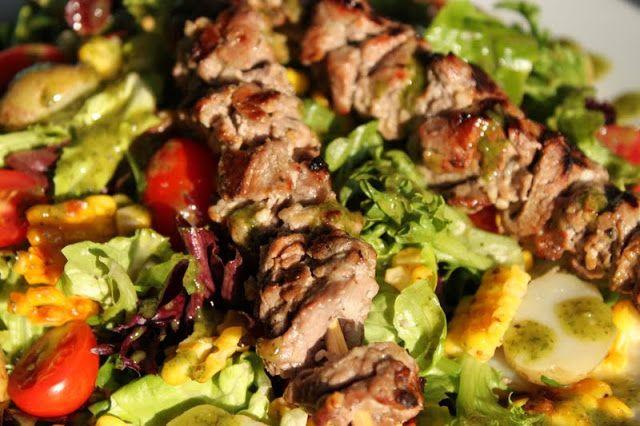 Steak and Sweet Corn Salad with Basil Vinaigrette - thecafesucrefarine ...