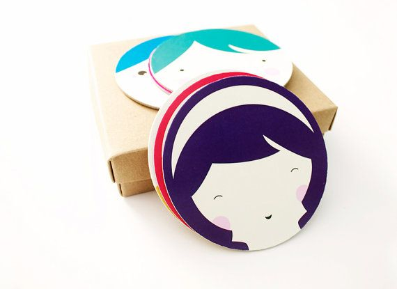 Cute paper coasters nursery space illustrated by MessProject, €14.00  #papergoods #papercoasters #coasters #funny #happy #cute #illustration #faces #kawaii #housewarminggift #houseware #nursery #nurseryspace