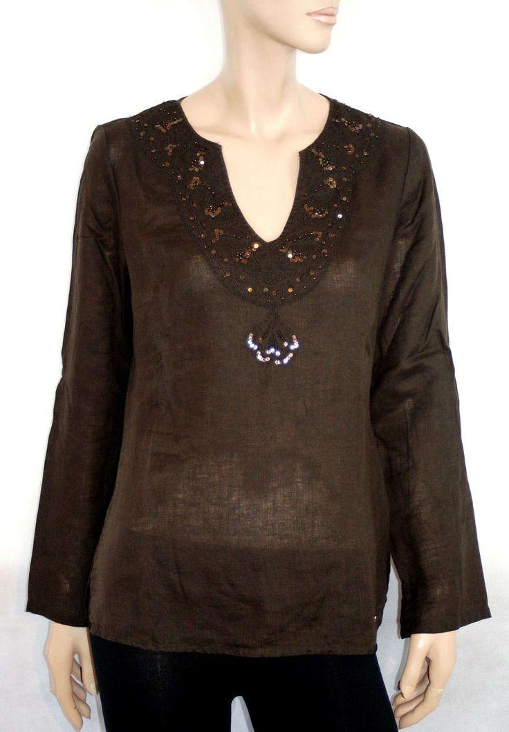 Charming Embroidered Sequin Brown Tunic All Linen Festival Blouse Tunica Blusa Kaftano Donna Marrone Paillettes Ricamata 100% Lino Taglia 42 di BeHappieWorld su Etsy
