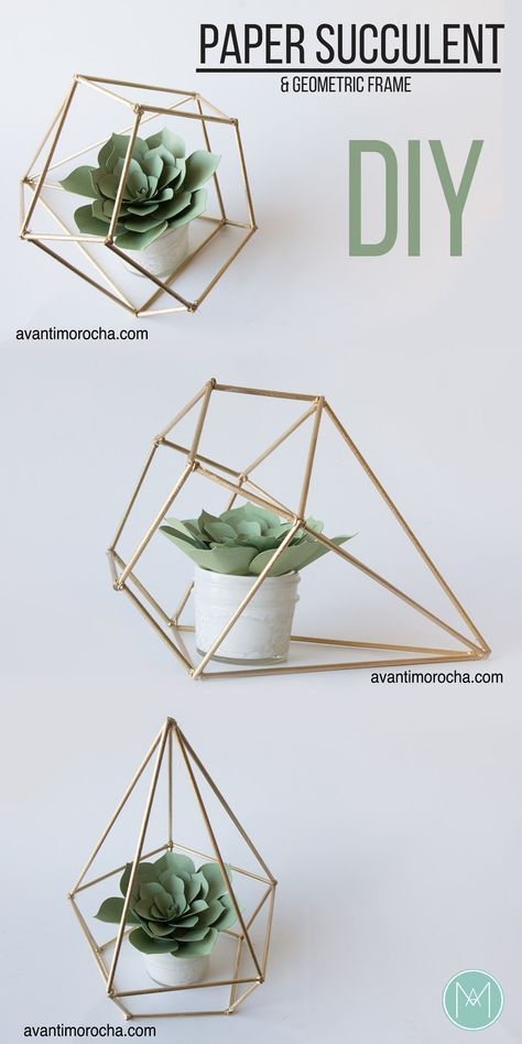 DIY Paper Succulent & Geometric Frame Gift Idea Valentine's Day, Mother's Day and any other occasion.