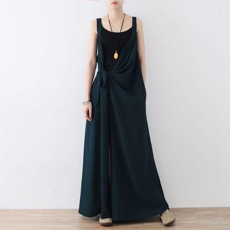 Deep-V Striped Blackish Green Jumpsuits Designer Wide Leg Womens Dungarees    #green #jumpsuits #designer #wideleg #jumpsuits #rompers #plussize