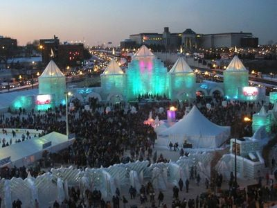 St. Paul, Minnesota.  One of the Ice Castles made for the Winter Carnival.