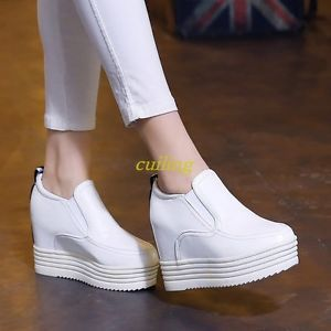 Chic Women's Wedge Heel Round Toe Platform Slip On Casual Fashion Sneakers  Shoes