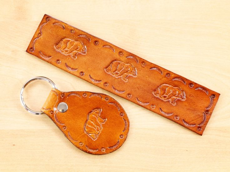 Click To Shop Now - Hand Tooled Leather Bear Gift Set Leather Bookmark Leather Keychain Gift For Dad. https://etsy.me/2E4xvt5 #bear #brownbear #bookmark #leather #beargiftset #leatherbookmark