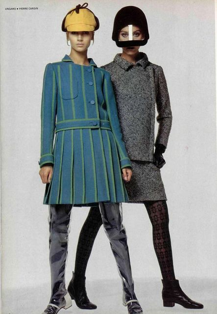 Mod 1960s. Not understanding what's going on with the legs on the blue/green outfit