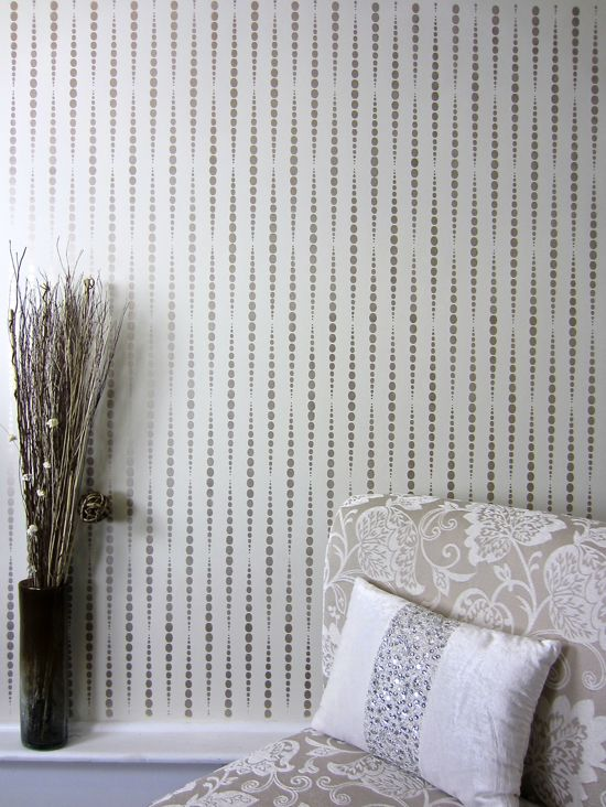 a diy stenciled accent wall using a geometric wallpaper pattern the beads allover stencil - Wall Paper Interior Design