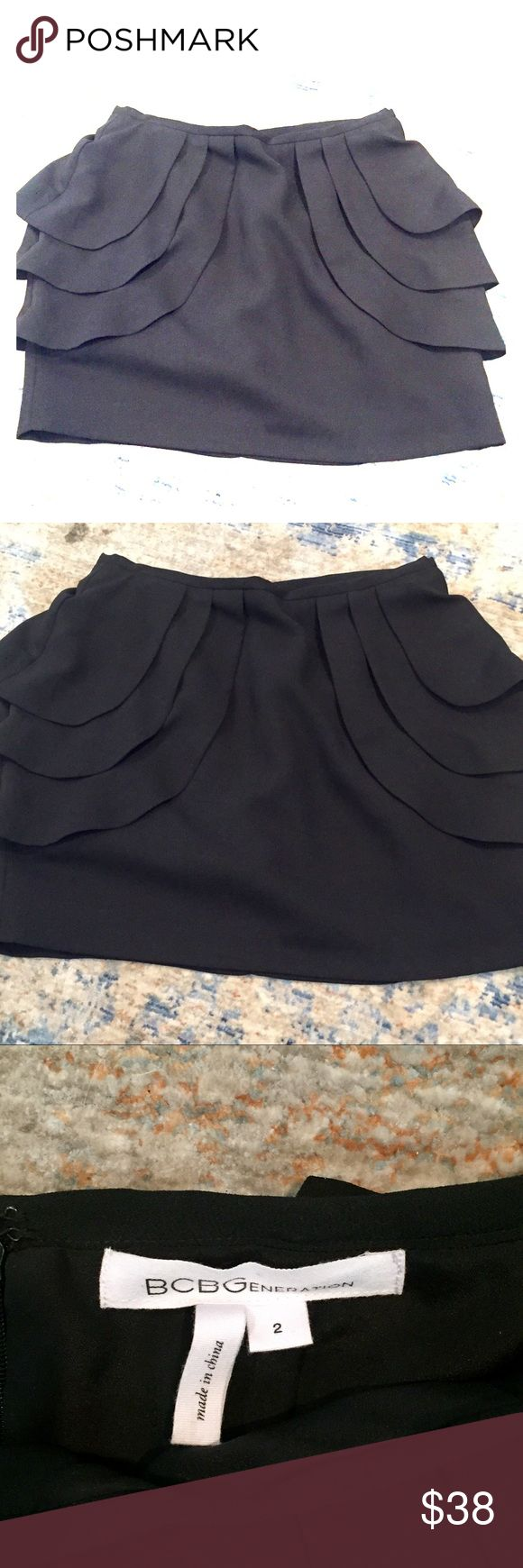 BCBGeneration Skirt BCBGeneration dress skirt with scalloped details on the side - great condition, no signs of wear. Don't know if I ever wore it and now doesn't fit anymore - has lining underneath & zipper on back BCBGeneration Skirts Mini