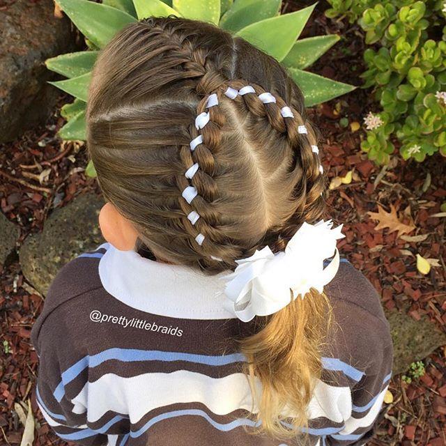 French braid with 4 strand ribbon braids