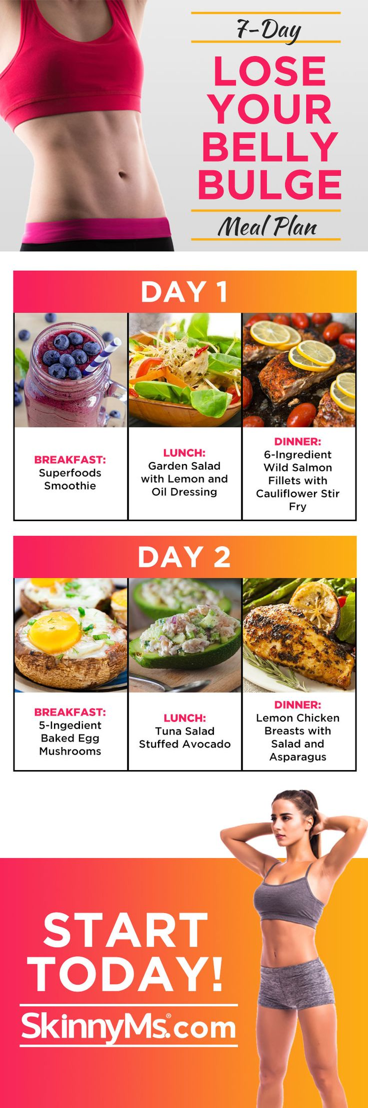 Lose Your Belly Fat 7-Day Meal Plan! #cleaneating #healthyeats #skinnyms