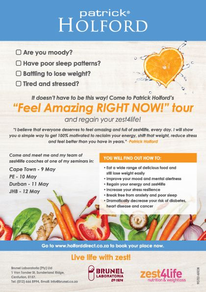 Patrick Holford Feel Amazing Right Now! Tour. Don't miss out on the opportunity to meet Patrick and his team of zest4life practitioners. You can learn how to get your zest and energy for life back. #events #eventideas #energy #nutrition #health