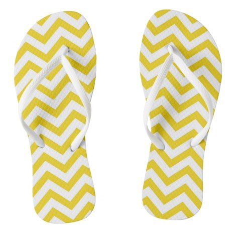 Yellow And White Large Chevron Stripe Flip Flops #chevron #patterned #footwear #fashion