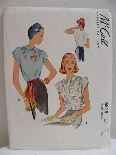 Vtg 1940s McCalls Blouse Top Sewing Pattern 12/30 6818 Key Hole Sleeveless UNCUT