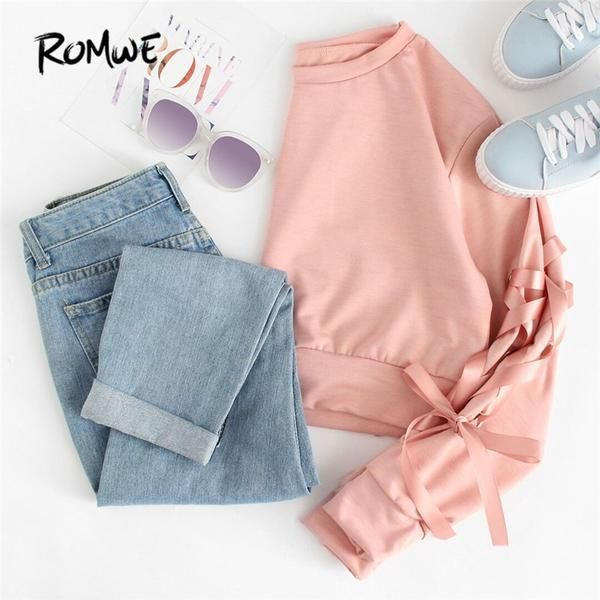 Eyelet Lace Up Sleeve Crop Sweatshirt Autumn Pink Round Neck Cute Pullovers 2018... 3