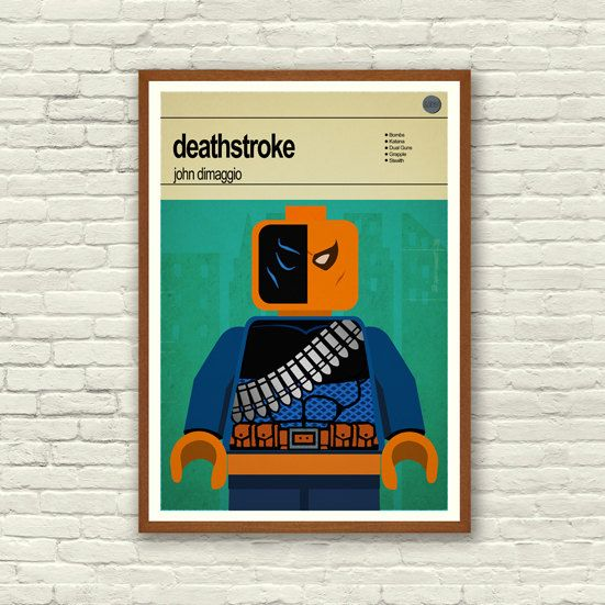 This is a stylish framed print of the Lego Marvel Super Hero/Villain Deathstroke, fit to grace any man cave or children's bedroom. Hand drawn with a graphics tablet and pen this print is styled with typography and features the actor who voiced Deathstroke in the Lego Marvel Super Heroes game and the Lego Super Hero abilities.