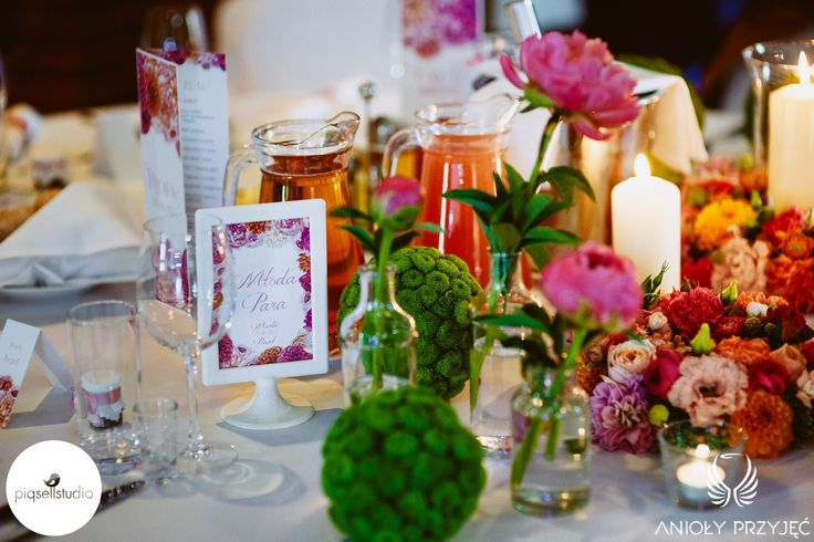 9. Fuchsia Orange Wedding, Centerpiece, Head table decoration / Wesele fuksjowo-pomarańczowe, Dekoracje stołu Pary Młodej, Anioły Przyjęć