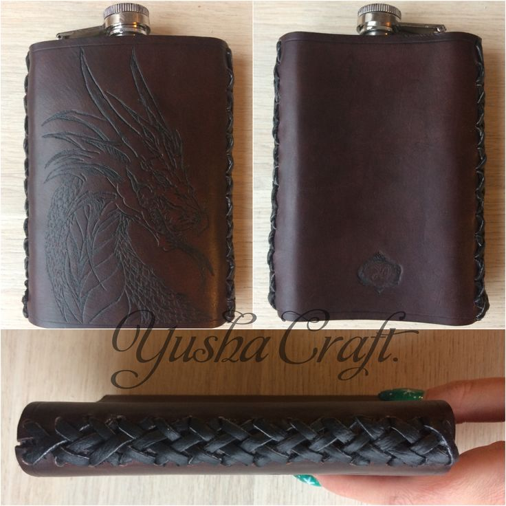 Leather, handmade Yusha Craft. Case for flasks Чехол для фляжки