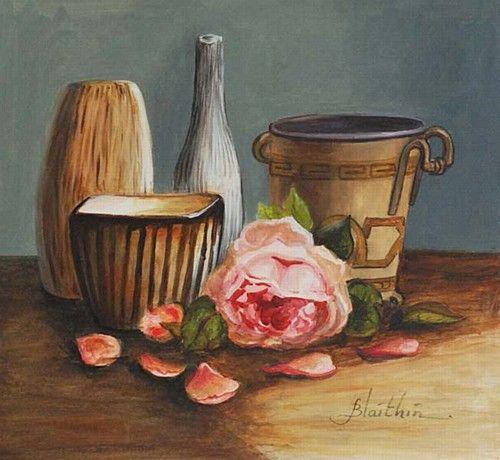 """Blathin, """"Still Life with vase"""" #art #chalkpastel #StillLife #flower #vase #DukeStreetGallery"""