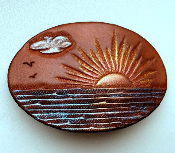 Hand tooled leather sunset over the sea hair barrette by Gemsplusleather - 29$…