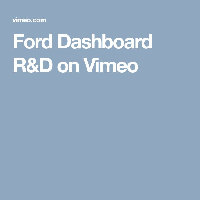 Ford Dashboard R&D on Vimeo