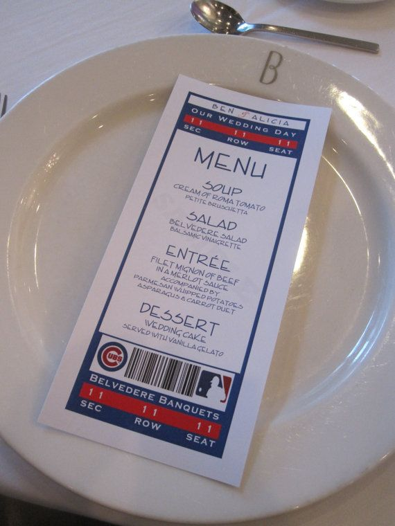 Sports Ticket Menu for Wedding or Shower by PoshPapetiere on Etsy