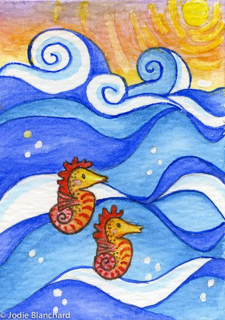 "Whimsical Seahorse Painting "" Seahorse Sunrise "" ACEO Print"