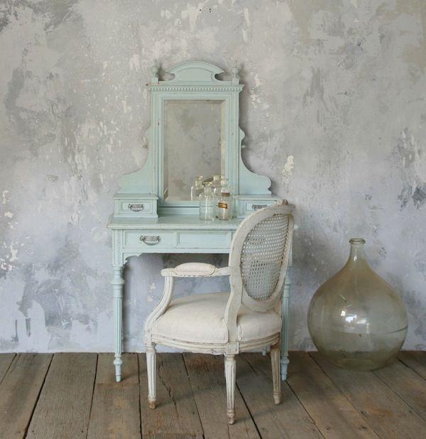 Shabby French Aqua Vanity Table