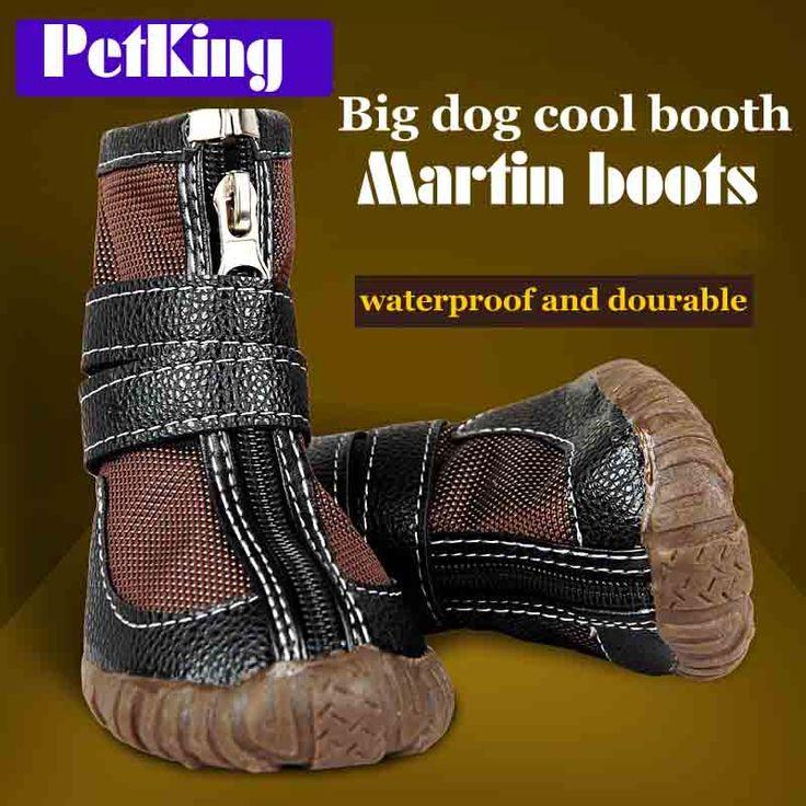 Большая большая собака искусственная кожа спорт зимние водонепроницаемые собака щенок мартин сапоги non-slip pitbull золотистый ретривер дождь обувь