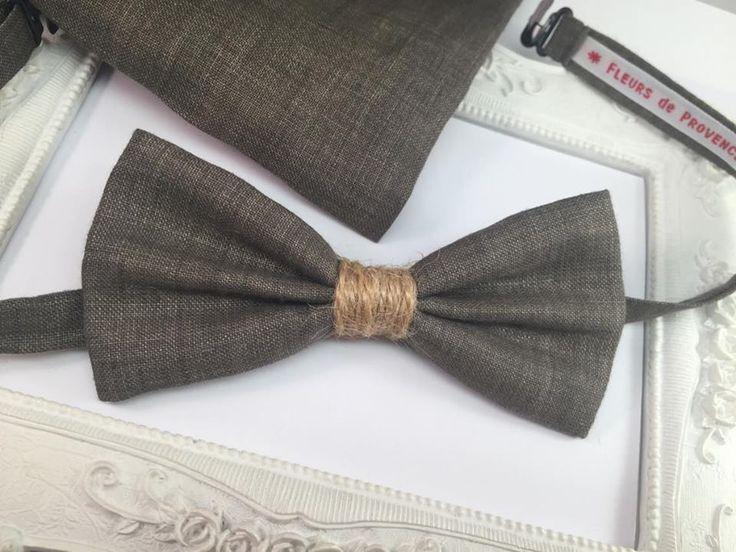 Set Noeud Papillon et Pochette costume assortie lin marron uni champêtre - Homme : Cravates par fleurs-de-provence