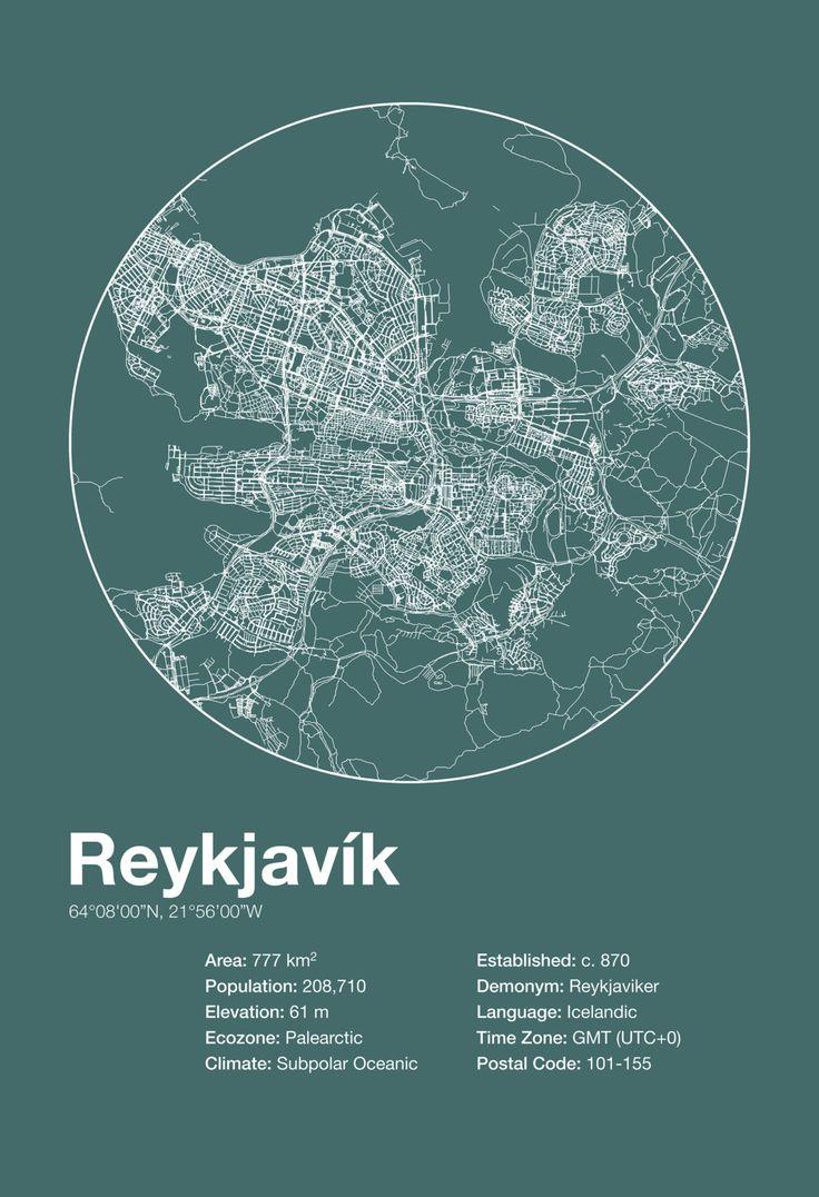 Karte / Map ~ Reykjavík, Island / Iceland