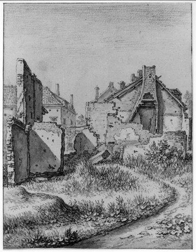 Gezicht op een aantal huizen buiten de Weerdpoort te Utrecht, deels geruïneerd als gevolg van de tornado van 1674. Fotoreproductie van tekening van Herman Saftleven uit 1674.