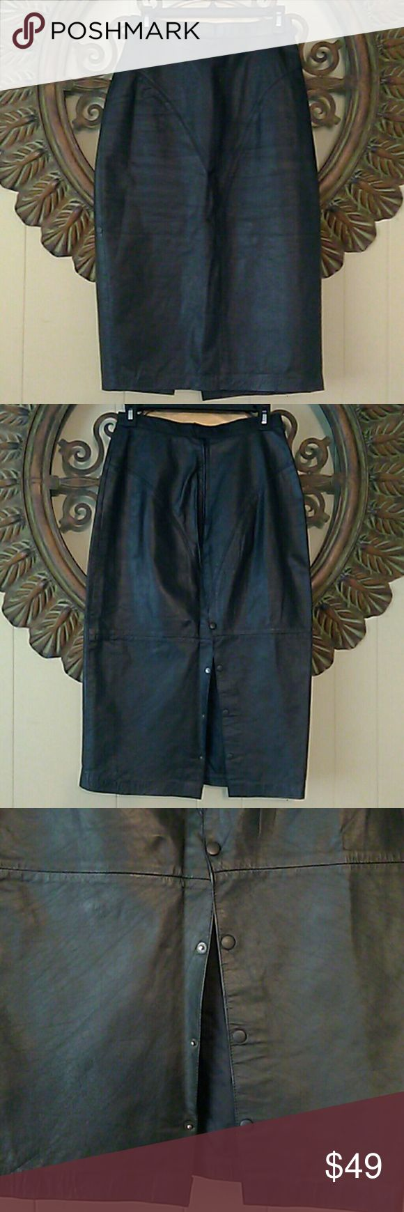 Black Leather Pencil Skirt Very nice long black leather pencil skirt. Very good condition. Button up split in the back. Tarazzia Skirts Pencil